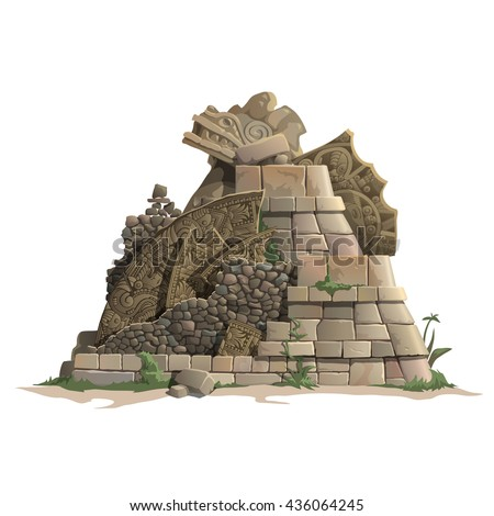 The ruins of a Mayan temple. Vector. - stock vector