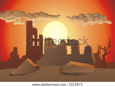 The ruins of the destroyed city on background of the evening sundown. A vector. - stock vector
