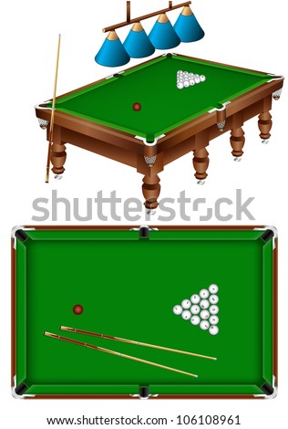 The russian billiard table with a cue, lamps and balls isolated on a white background - stock vector