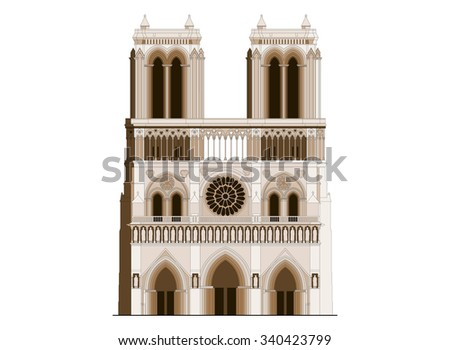 The sacred cathedral Notre-Dame de Paris in France. Famous symbol of Paris gothic architecture - stock vector