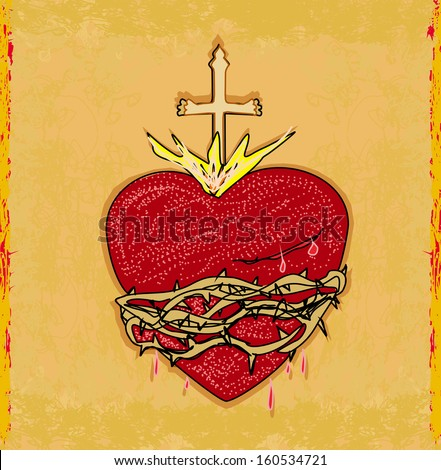 The Sacred Heart of Jesus on grunge background - stock vector