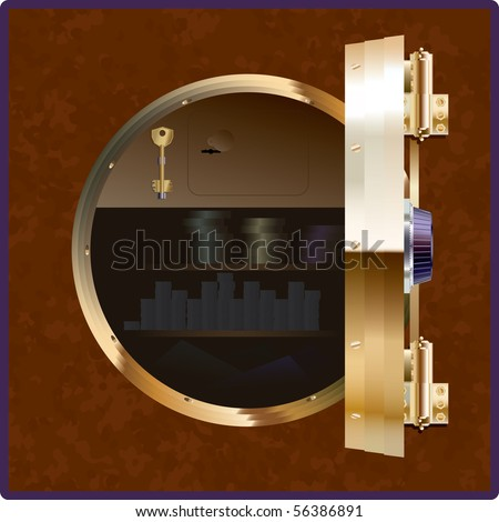 The safe of the square form with an open round door - stock vector