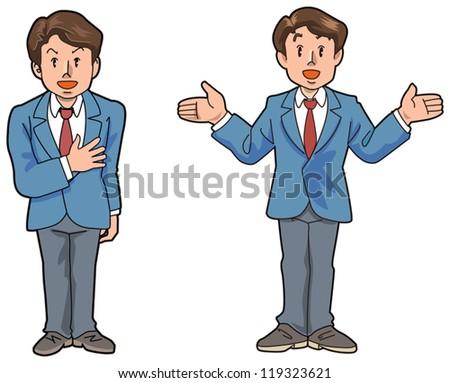 The salesman who explains it - stock vector