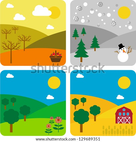 The same landscape, the Four Seasons - stock vector