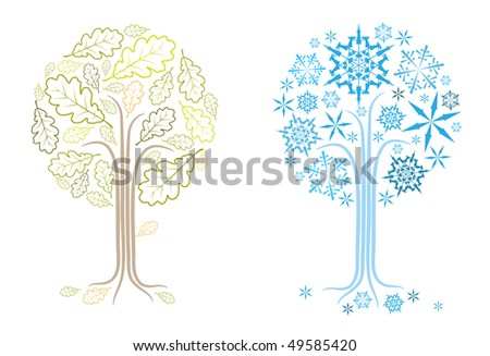 The same vector oak tree in different seasons (summer and winter) - stock vector
