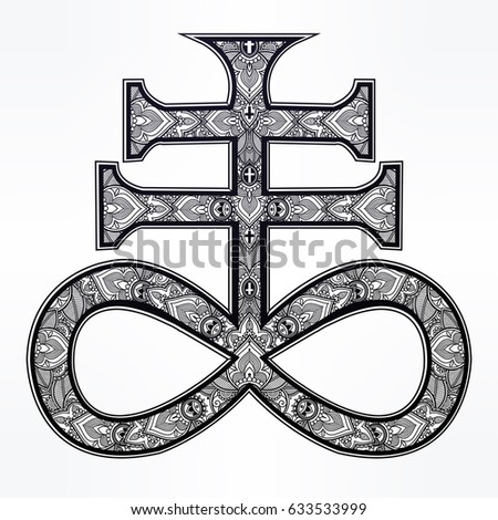 the satanic cross known as the seal of demon leviathan ornate alchemy symbol