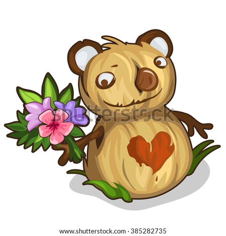 The Scarecrow of straw in the shape of a bear with a heart and a bouquet of flowers. Vector illustration.
