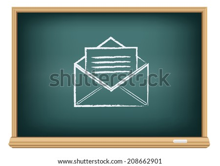 The school blackboard and chalk written open envelope - stock vector