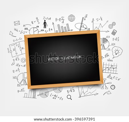 The school Board on the background of mathematical equations and formulas. Hand-drawn diagrams and graphs. Background. Doodle. Vector illustration modern design template. - stock vector