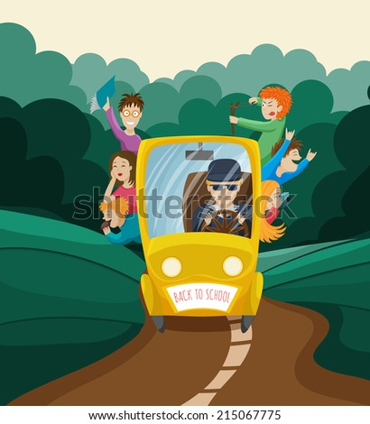 The school bus with children and driver on a forest background for your design.