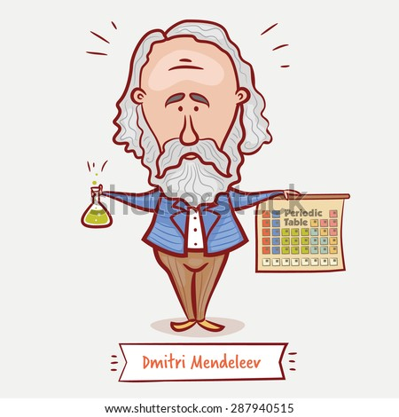 The scientist chemist Dmitri Mendeleev with a chemical  flask and the periodic table  in a blue jacket with a beard. - stock vector