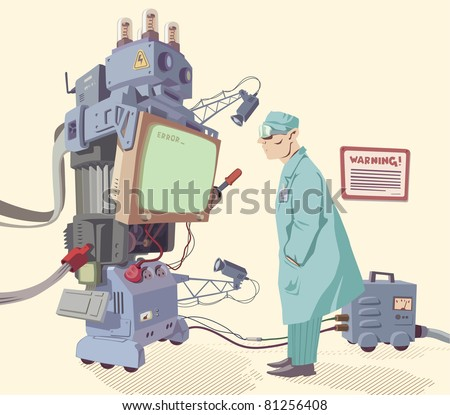 The scientist is looking on the error message of the giant robot's operating system. - stock vector