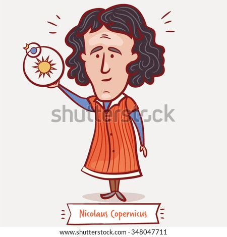 The scientist, physicist, astronomer Nicolaus Copernicus with a heliocentric model  in a red coat - stock vector