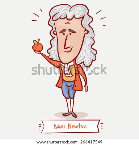 The scientist physicist Isaac Newton with an apple in a red jacket and a wig. - stock vector