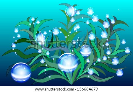 The sea, bubbles, sea-bottom, seaweed, water, wall-paper, vector template of the brochure. EPS10