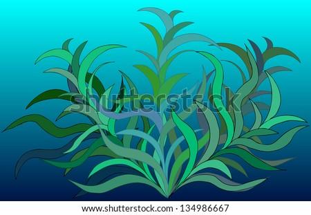 Sea Seaweed Water Wallpaper Vector Template Stock Vector 134986667 ...