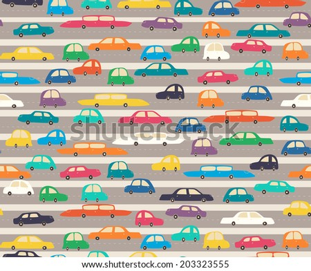 The seamless pattern with cute colorful cars on a road. - stock vector