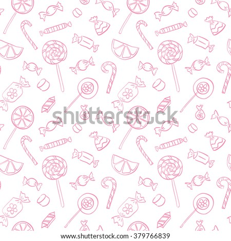 The seamless vector pattern with hand drawn sweets. Candy for Christmas - stock vector