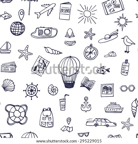 The seamless vector pattern with hand drawn travel objects for your design. Doodles.