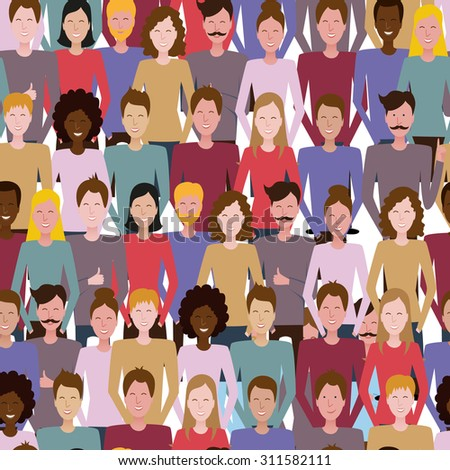 The seamless vector pattern with people. Society, team, public. Social media, communication background for your design. - stock vector