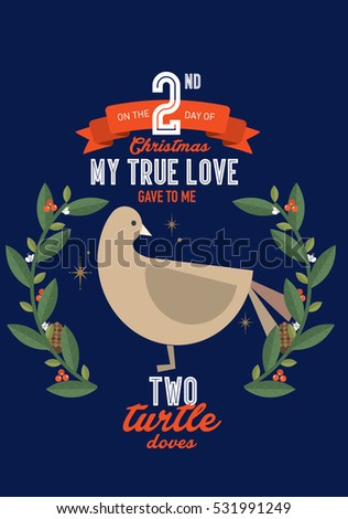 Two turtle doves stock images royalty free images vectors the second day of the twelve days of christmas template vectorillustration two turtle pronofoot35fo Image collections
