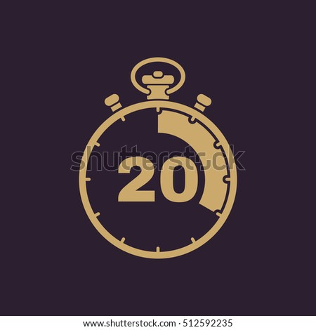 The 20 seconds, minutes stopwatch icon. Clock and watch, timer, countdown, stopwatch symbol. UI. Web. Logo. Sign. Flat design. App. Stock vector