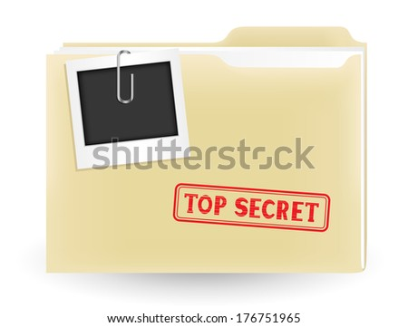 The secret files, closed yellow folder with stamp and photo on the white background - stock vector