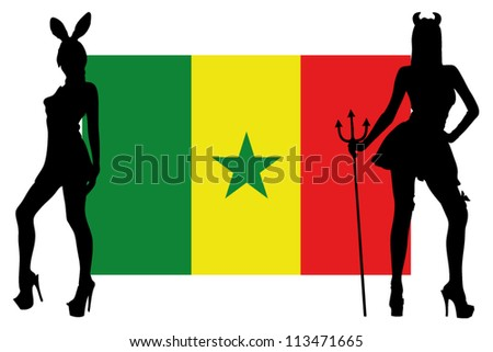 The Senegal flag with silhouettes of women in sexy costumes