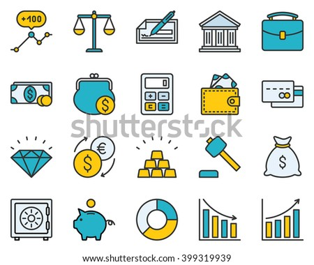 The set contains 20 fully scalable vector icons with outline style. - stock vector