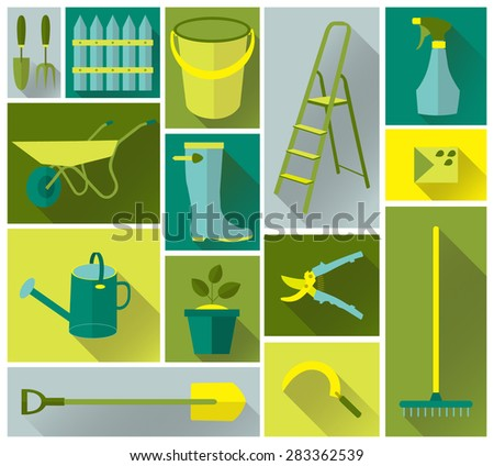 The set icons of tool garden vector - stock vector