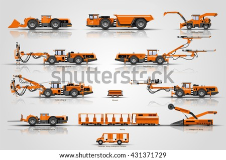 The set mine mining vehicles. The machine of  mine mining underground operations. Equipment for construct tunnel .