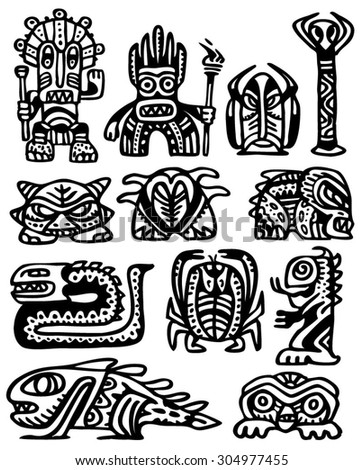 The set of ancient totem icons