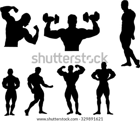 The set of 7 Body building silhouette - stock vector
