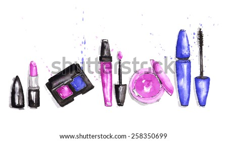 The set of cosmetics. Watercolor vector illustration - stock vector