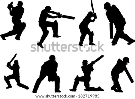 The set of cricket player silhouette - stock vector