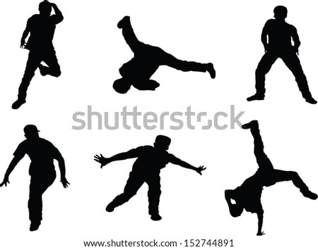 The set of 6 dancer silhouette vector figures