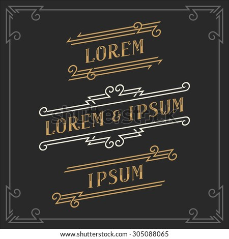 The set of elegant vintage emblems and logos templates. Graceful retro business sign, identity, label. Stock vector.