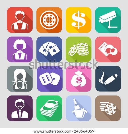 The set of flat casino icons with long shadow. Trend design - stock vector