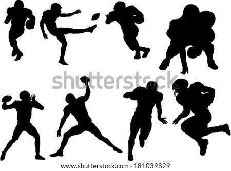 The set of football player silhouettes - stock vector