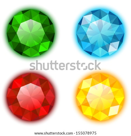The Set of Four Colorful Gems Round Shaped - stock vector