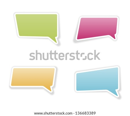The set of four speech bubbles with shadow / bubble stickers