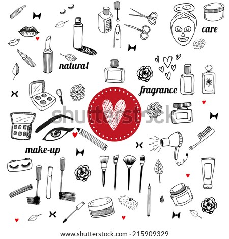 The set of hand drawn beauty and wellness items. Vector background for your design. Info graphic. - stock vector