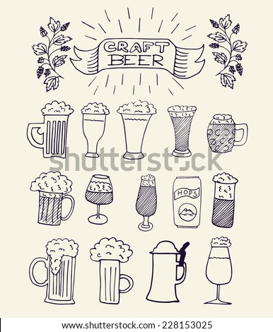 The set of hand drawn beer mugs for your design. Home brewing, crafted beer. Doodles. Black and white vector illustration.  - stock vector