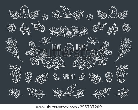 The set of hand drawn decorative floral elements for your design. Elements for Valentine's Day, mother's day, birthday, wedding, easter. Hand drawn with chalk on the black chalkboard. Vector. - stock vector