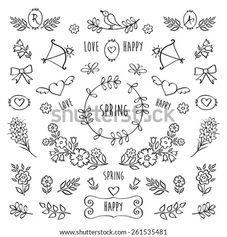 The set of hand drawn decorative floral elements for your design. Elements for Valentine's Day, mother's day, birthday, wedding, easter. Hand drawn. Vector. - stock vector