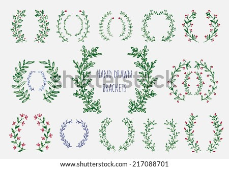 The set of hand drawn vector circular decorative elements for your design. Leaves, swirls, floral elements.  - stock vector