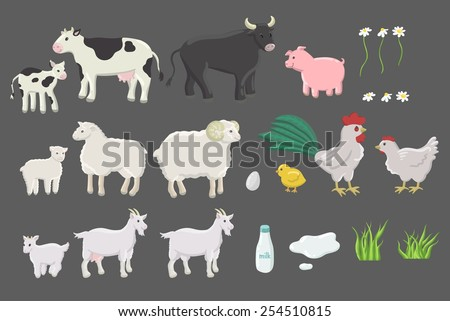 The set of happy smiling drawn farm animals. Cow, bull, calf, ram, sheep, lamb, goat, chicken, rooster and pig. A bottle of milk, an egg, grass and daisies. Isolated - stock vector
