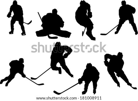 The set of hockey player silhouettes - stock vector