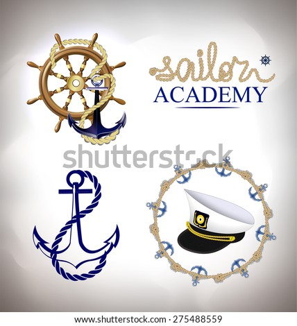 The set of marine emblems - stock vector