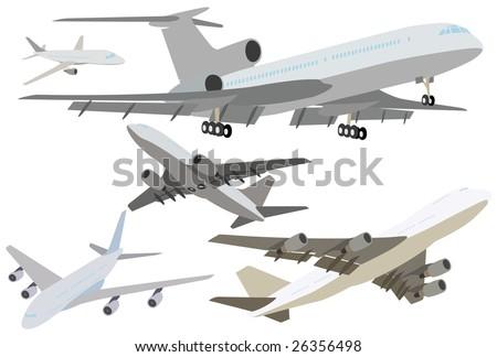 The set of modern passenger jet planes - stock vector